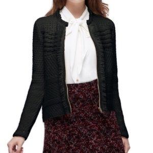 Ann Taylor black cardigan fringe zip metallic wool